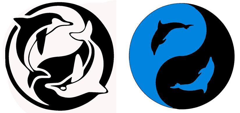 Эскиз тату инь янь с дельфинами