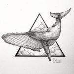 Эскиз тату кит на фоне треугольника