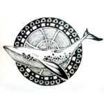 Эскиз тату кит с кругом