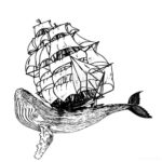 Эскиз тату кита с парусником на спине