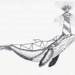 Эскиз тату кита с маяком