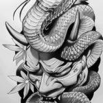 Эскиз тату кобра с высунутым из пасти языком