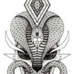 Эскиз тату кобра, графика
