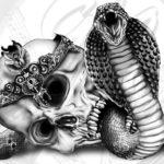 Эскиз тату кобра с черепом
