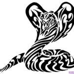 Эскиз тату кобра в стиле трайбл