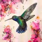 Эскиз тату колибри паоит над цветами