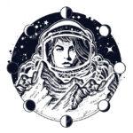 Эскиз тату женщины космонавта