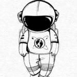 Эскиз тату маленького космонавта