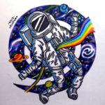 Эскиз тату астронавта с радугой