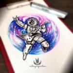 Эскиз тату космонавта сгитарой