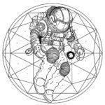 Эскиз тату космонавта