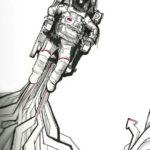 Эскиз тату летящего космонавта