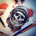 Эскиз тату череп космонавта