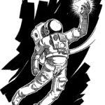 Эскиз тату космонавта держащего звезду