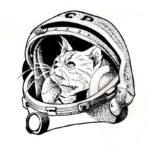 Эскиз тату кошки космонавта