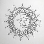 Эскиз тату мандала в виде луны и солнца