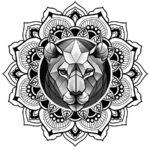 Эскиз тату мандала с мордой льва в центре