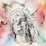Эскиз тату статуи свободы, акварель