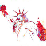 Цветной эскиз тату статуи свободы