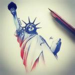 Эскиз тату статуи свободы в два цвета