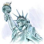 Эскиз тату статуи свободы с факелом