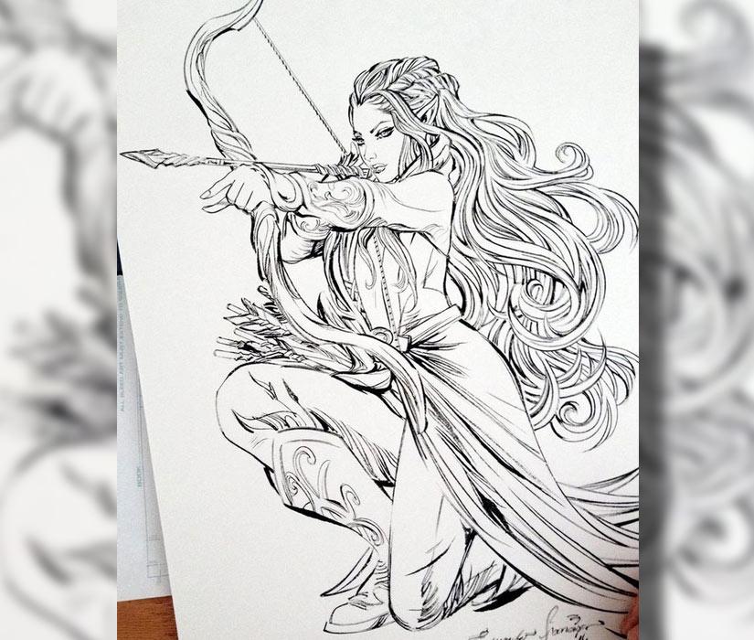 Эскиз эльфа девушки с луком и стрелой