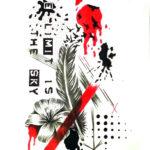 Эскиз треш полька с пером и цветами