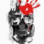 Эскиз треш полька лицо человека в противогазе и отпечаток руки