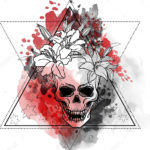 Эскиз треш полька с треугольником и черепом