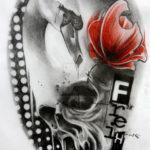 Эскиз треш полька с черепом и цветком