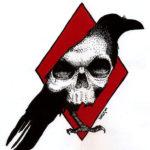 Эскиз треш полька с силуэтом ворона и черепом
