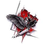 Эскиз треш полька с тату машинкой и крыльями