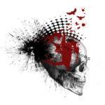 Эскиз треш полька с черепом и точками в виде ирокеза