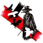 Эскиз треш полька с белыми и черными птицами