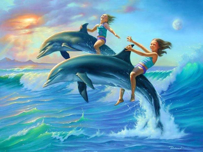 Рисунок с игривыми дельфинами катающие детей на спине