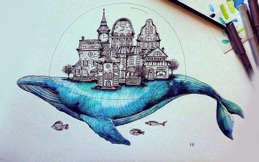 Эскиз тату кита с домами на спине