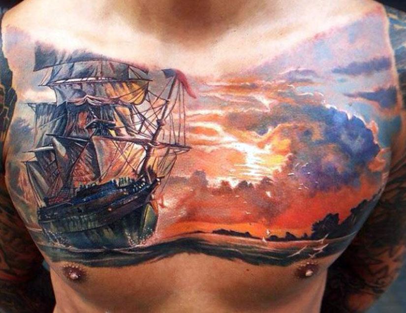Тату корабля плывущего на закат