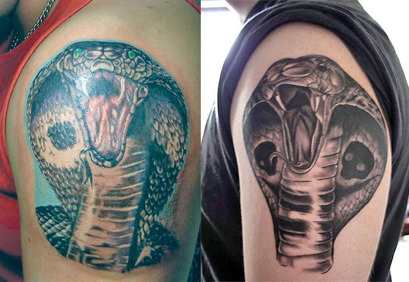 Королевская кобра с капюшоном, очковая змея