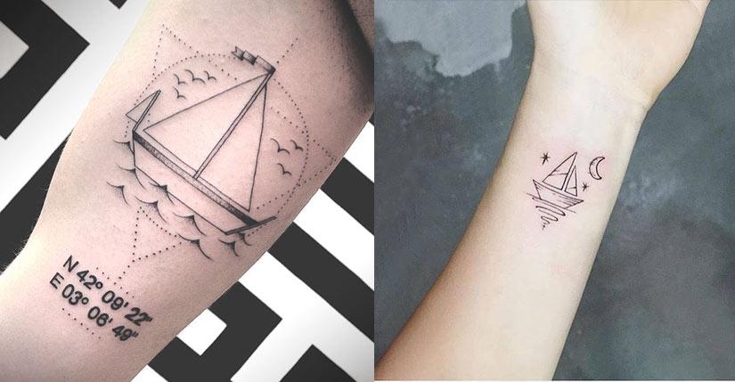 Наколка с корабликами
