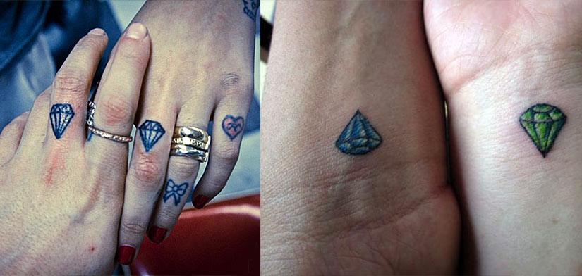 Парные тату алмазов