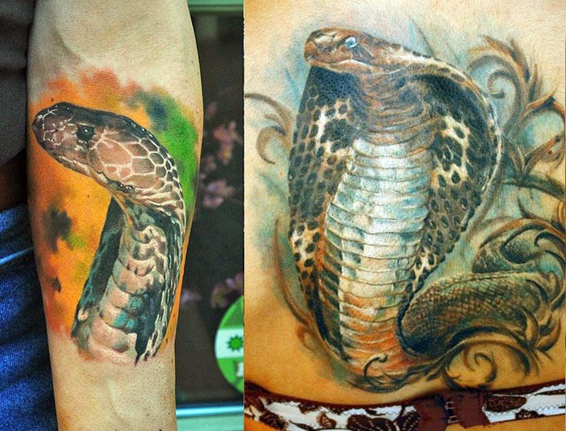Реалистичная татуировка с коброй