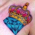 Тату алмаз с короной