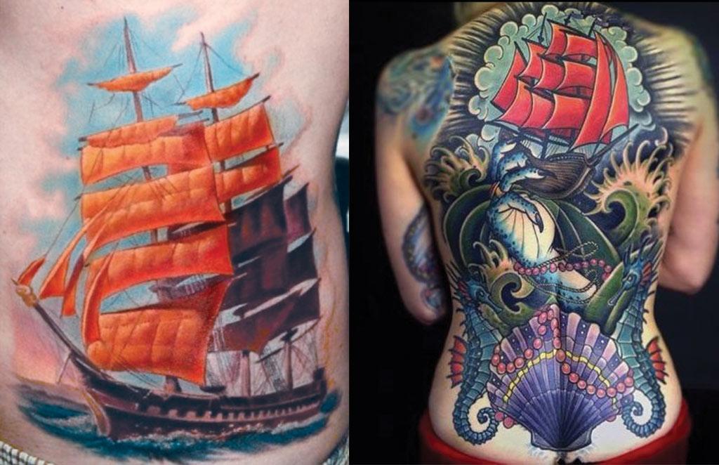 Тату корабль с алыми парусами