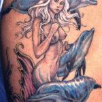 Тату дельфины и русалка