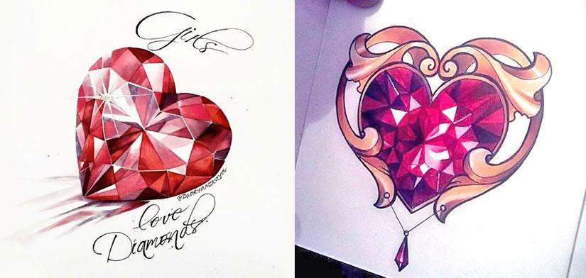 Тату эскиз алмаз в форме сердца