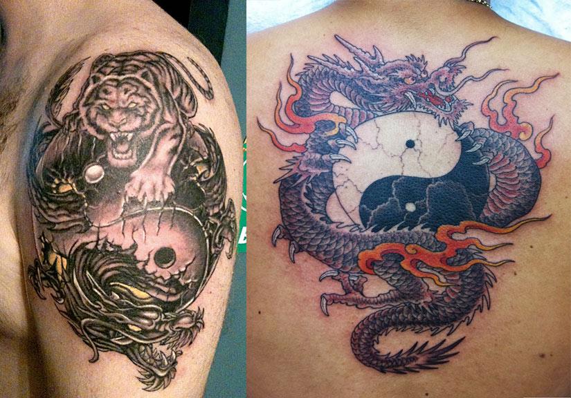 Тату инь янь с драконом и тигром