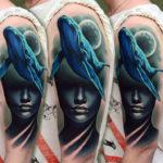 Абстракция тату лицо девушки и кит