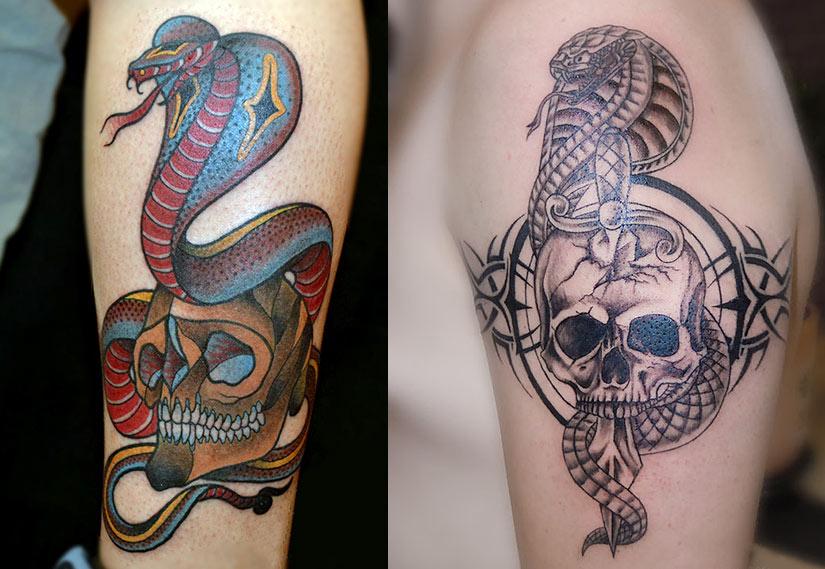 Тату кобра и череп