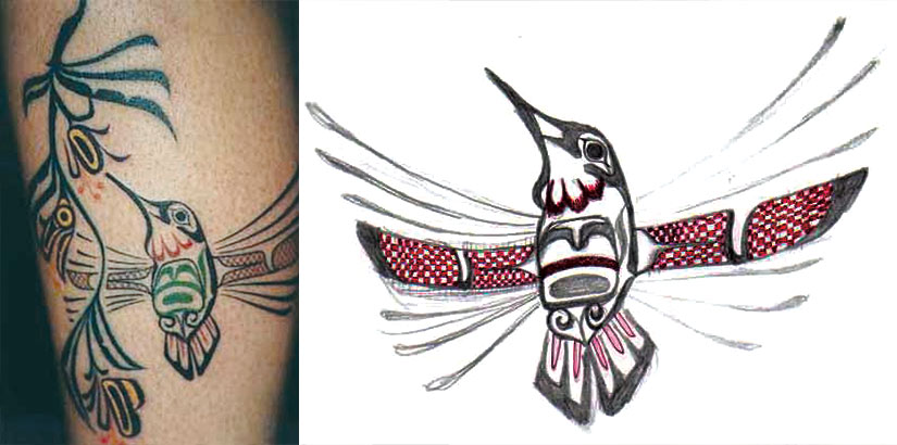 Татуировка колибри в стиле ацтеков