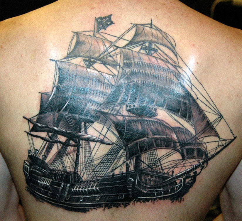 Тату корабль Черная жемчужина